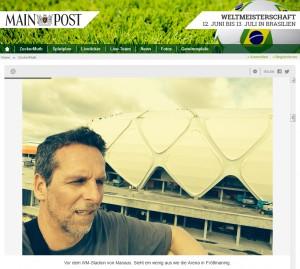 Main-Post-Chefreporter Achim Muth berichtete im Liveblog von der Fußball- Weltmeisterschaft 2014 aus Brasilien. Verwendet hat er dazu das Tool von ScribbleLive.