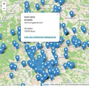 Wo wurde eingebrochen? Die Tatorte in Unterfranken auf einer Karte.