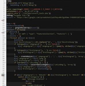 Ausschnitt aus dem PHP-Script, dass die Daten aus der Tabelle bei Google Drive weiterverarbeitet.